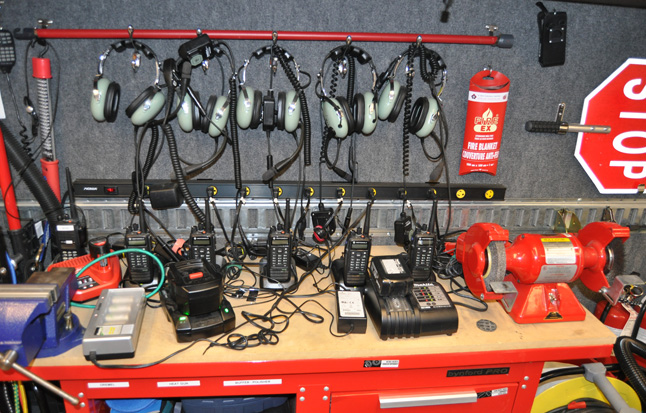 Transceivers, headsets and other things in the supply truck. David F. Rooney photo
