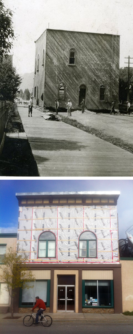 Revelstoke Cable TV is working on their building on Second Street West. The building was originally built further down the street on the site of the former Mountain View School gymnasium. It was a lodge building, originally owned by the Oddfellows, and later by the Orange Lodge. This photo shows it being moved to its current location in 1913. The bottom image shows it as it is today, Tuesday, October 8. The bricks on the front façade were apparently delaminating so they were completely removed. Although it is a century old it is not registered as a heritage building. Top photo courtesy of the Revelstoke Museum & Archives. Bottom image by David F. Rooney