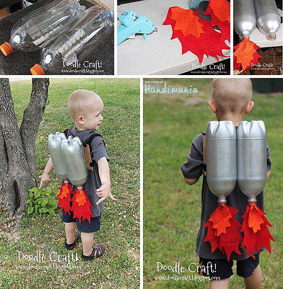 This is a really neat idea for the recycling-minded mom and dad. Take a couple of big, empty pop bottles, attach some shoulder straps, paint the bottles silver, create some 'flaming exhaust' from paper or cloth, insert them in the mouths of the bottles and — Voila! — you have instant jet pack!