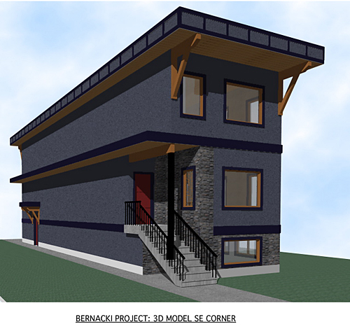 This is an artist's conception of the design by Alan MacLeod's Habitech Design Service. Alan's firm specializes in traditional and timber frame house plans. Alan MacLeod illustration courtesy of Nu-Trend Construction Ltd.