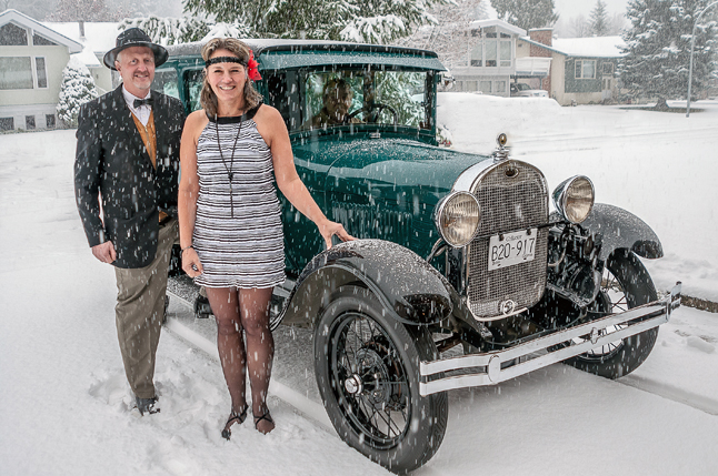 Peter and Zophie Humphreys may look like they have this Bonnie and Clyde thing going on, but they're actually posing in 1920s' style clothing to promote the Community Foundation's Roaring '20s Dinner at Glacier House Resort this Saturday, November 23. Their wheelman is George Hopkins who loves and owns this particular vintage vehicle. Tickets for the dinner are $75 per person and are available at Pharmasave and the Revelstoke Credit Union. Photo courtesy of the Revelstoke Community Foundation