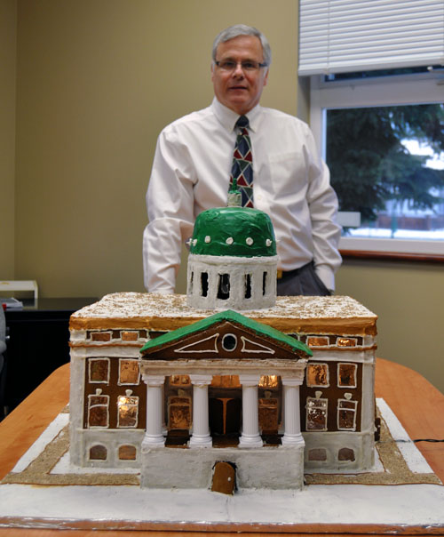 """This scale model of the city's historic Provincial Court House is constructed entirely of gingerbread, chocolate, icing and candy window panes. And it could be yours of you """"like"""" Community Connections Facebook page. This eminently edible structure took Craig T. Brown, Community Connections' executive director, 35 hours to create. David F. Rooney photo"""
