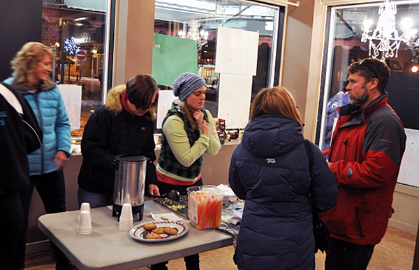 Meanwhile, at First and Mackenzie the empty storefront on the corner was partly taken over by the Acrobats Gymnastics Club where they flogged tickets for their fund-raising raffle as well as snacks and drinks to Moonlight Madness shoppers. David F. Rooney photo