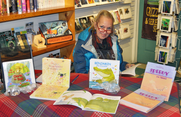 Children's writer Mieke Blommestein was signing copies of her latest book, Benjamin the Crocodile, at Grizzly Books and Serendipity Shop, on Friday evening. David F. Rooney photo