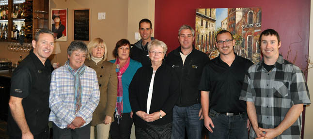Meet the members of the Chamber of Commerce's new board. From left to right they are: Randy Driediger, Lisa Longinotto, Connie Brothers, Mavis Cann, Steve Bailey, Edna Mae Johnson, Brydon Roe, Trevor English and Scott Duke. Not present for this photo is Brock Freathy. Longinotto, Brothers, Cann, Johnson and Freathy were acclaimed at the Chamber's Wednesday, November 20, luncheon at isabella's Ristorante. David F. Rooney photo