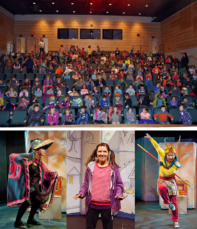 Elementary school kids rom ac ross the city have been treated to presentations on Monday and Tuesday at the Performing Arts Centre of Raven meets the Monkey King by Axis Theatre. Kids from Begbie View School (top image) crowded The Centre for Monday afternoon's show, which starred Nyla Carpentier (bottom image, left), Ella Simon (center) and Aaron Lau. The play tells the story of JJ, an inquisitive 11 year old, dreams of becoming a rich and famous treasure hunter and hits the jackpot when she buys a mysterious box from a garage sale. Once she gets home the box magically opens and inside she finds a Raven mask wrapped in an old Chinese opera poster. JJ takes the mask and poster to a junk shop, hoping they're worth something. Mr. Wheeler, the greedy junk dealer, slyly tells her they're fakes and yet still wants to buy them. Suspicious, JJ refuses to sell. Determined to get a higher price, she sets out on an adventure and discovers a complex history behind the artifacts that reaches far beyond their market value. Aiding her on this quest are the spirits of the Raven (First Nations) and the Monkey King (Chinese), who were trapped in the box for ninety years but were released when JJ opened it. These tricksters, renowned in their respective cultures, share their stories and life lessons and guide JJ to understand that the value of money pales in comparison to the values of family and history. Past and present all join together in a rollicking tale of how our lives are transformed by the people we meet, the choices we make and the stories we tell. Top photo by David F. Rooney / Bottom photo  by Emily Cooper courtesy of Axis Theatre