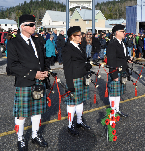Members of the Revelstoke Highland Pipe Band provided the traditional music for Revelstoke's Remembrance Day ceremony. David F. Rooney photo