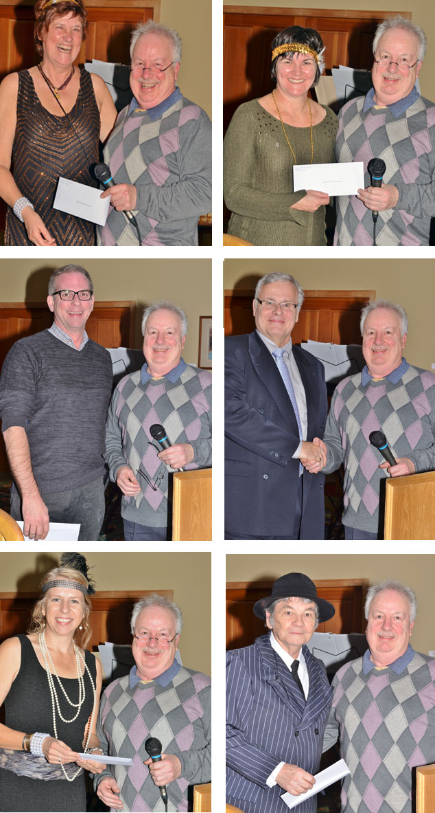 Community Foundation Chairman Darryl Willoughby got to pose for a lot of photos during the dinner especially because he was the man with the money. He presented six $1,000 cheques from the Foundation to Jan Morehouse (top left) of the Revelstoke Museum & Archives Society, Caroline Duncan of the Early Childhood Development Society, Martin Ralph (middle left) pf the Revelstoke Theatre Company, Craig Brown of Community Connections, Wendy Harper of the Revelstoke Women's Shelter and George Hopkins representing the Revelstoke Railway Museum. Jesse Holdener photos