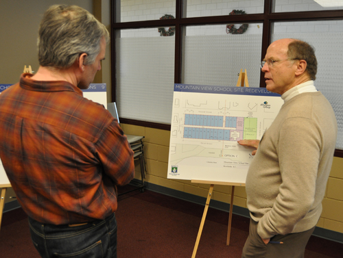 Corin Flood talks with Graham Farstad, land planning consultant hired by SD 19, about the different options for redeveloping the Mountain View School site. David F. Rooney photo