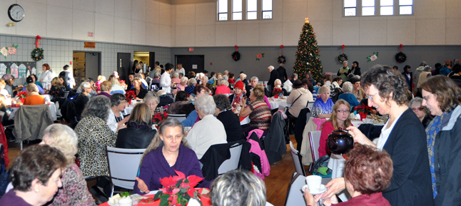 The St. Francis of Assissi Parish Hall was jammed with ladies young and old who enjoyed tea and an opportunity to purchase Christmas gifts. David F. Rooney photo