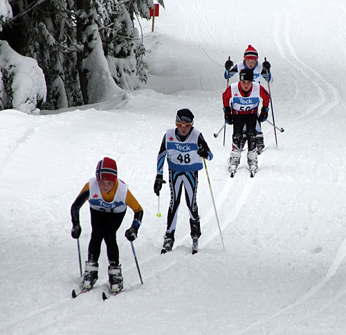 These are the top contenders in the bantam 2.5 km classic time trial race as the approach the finish. Sarah Newton photo