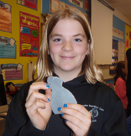 Grade 4/5 student Samantha Brown proudly shows off the mouse she's working so hard on. Photo by Amelia Brown caption by Alice Dunkerson AHE Student Reporter-Photographers