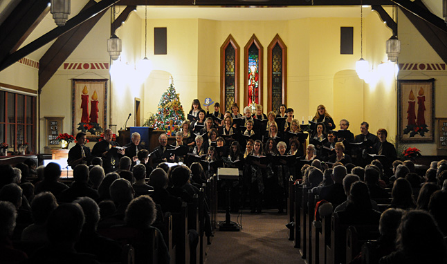 The Community Choir's two days of evening Christmas concerts at the United Church were musically beautiful and quite successful with about 150 of its 200 seats occupied by music lovers on Sunday evening, December 15. Monday night's attendance was even better. David F. Rooney photo