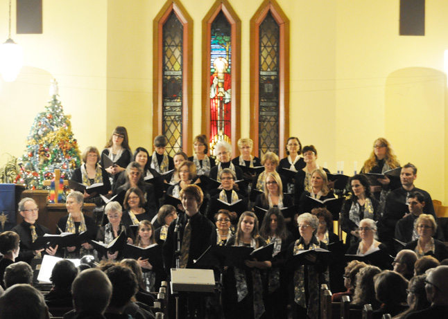 Taylar Masson (front, center) was the choir's soloist for its performance of the Rita McNeil son, Home I'll Be. This concert was one of the best the choir has offered Revelstoke in recent years. David F. Rooney photo