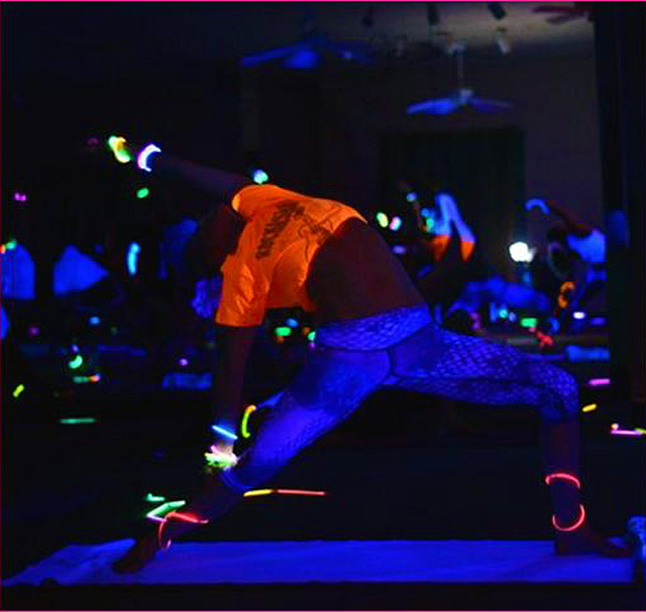 Here's a really different idea for a Food Bank fund-raiser: the ladies at Balu Yoga Studio are organizing a Glow-Yoga event for Wednesday, December 11, at the Traverse Night Club starting at 7:30 pm. Image courtesy of Balu Yoga Studio