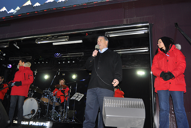 Mayor David Raven welcomes the crowd to the Holiday Train. David F. Rooney photo