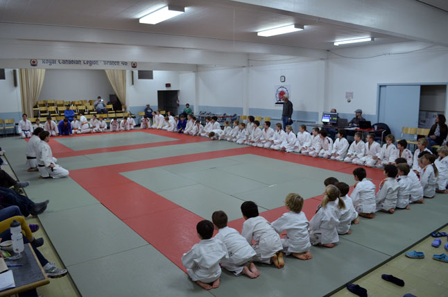 Young Judo students prepare to bow towards their senseis. Robert Serroya photo