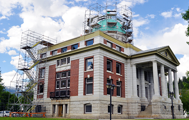 Here's what the court house looked like when work began last year to repair the roof and dome. Despite an initial recommendation by the Heritage Commission that it be repaired with real copper City Council got twitchy about the cost — about $200,000 — and opted to use a plastic polymer with a copper verdigris-like colour called cool mint. Revelstoke Current file photo