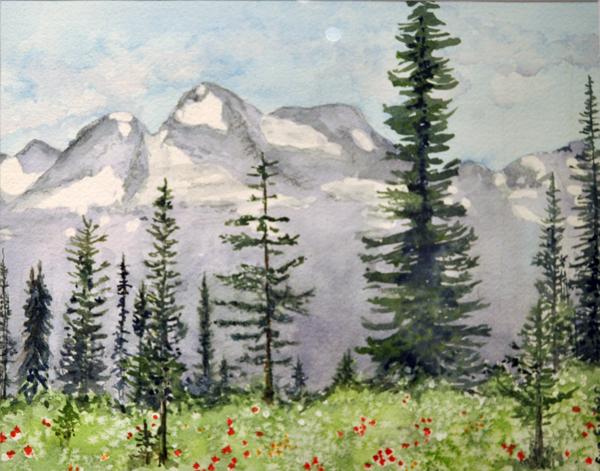 Mount Begbie from Mount Revelstoke By Eve Fisher Watercolour on Paper 2013