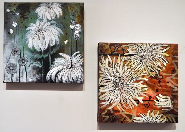 Dahlia No. 1 (left) and August Blend By Cherie Van Overbeke Acrylic on Canvas 2013