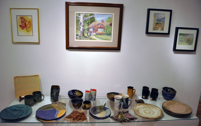 Watercolour Paintings by Pat Anderson and the Golden Girls Ceramics by Janet Pearson and Toni Johnston