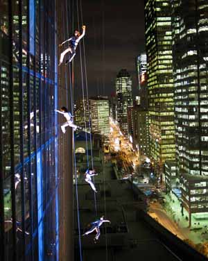 Aeriosa dancers soar high above Toronto's downtown streets during a nighttime performance at Tower L. Brian Finke photo courtesy of the Aeriosa Dance Society