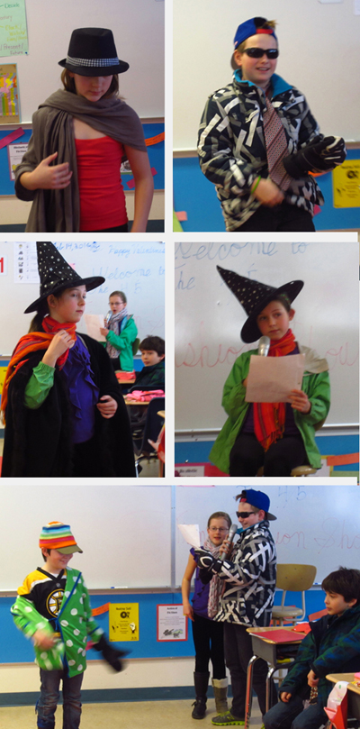 On Friday the 14th of February, the Arrow Heights Elementary Grade 4/5 class had a special event: A Fashion Show!  The Grade 4/5s had been learning about the words for clothing in French, and this was a fun and exciting way to exercise that new knowledge.  Without further ado, we introduce the models. Top left: Here, Samantha Brown struts her stuff on the runway in Mrs. Gadbois' 4/5 class at AHE. Top right: Michael Miertsch walks down the runway sporting his tie and shades. Middle left: Here's Jade as she walks the runway. Middle right: Jade Davies practices her French as she describes her partner's clothing in Mrs. Gadbois' 4/5 class at AHE. Bottom: Gavin Camera has a blast on the red carpet in the Fashion Show at AHE in the 4/5 class.  Rebecca Grabinsky and Michael Miertsch talk about his outfit and Tye Hoshizaki looks on. Thank you to all the models, and a hearty well done! Special thanks to Grade 4/5 teacher Michelle Gadbois for putting on this spectacular event. Pictures and captions by Alice Dunkerson and Amelia Brown AHE student reporter/photographers.