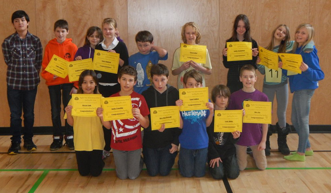 These Grade 4/5 Begbie View Elementary School kids pose for the camera after their spelling bee last week. Photo courtesy of Eleanor Wilson
