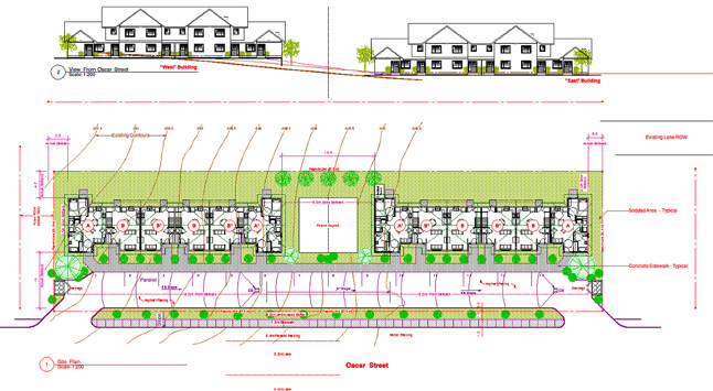 """The Columbia Basin Trust and BC Housing are committing $1,487,883 to the Revelstoke Affordable Housing Society's planned 12-unit condominium development at Bridge Creek Properties, Mark McKee told Council on Tuesday, February 25. """"Affordable rental housing is the most difficult thing to provide in a community,"""" he said. Artist's conception courtesy of the Revelstoke Community Housing Society"""