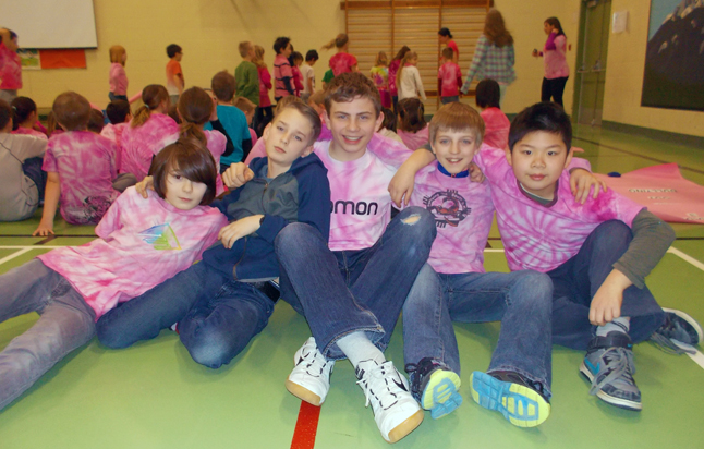 Pink Shirt Day at Columbia Park Elementary School was marked by lots of kids wearing tie-dyed pink shirts. Photo  courtesy of Columbia Park Elementary School