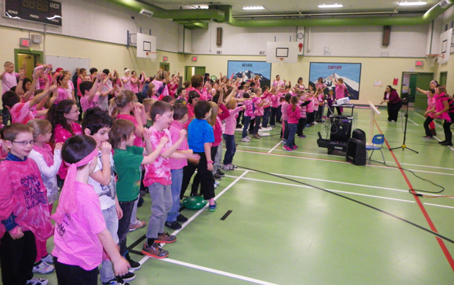 The CPE gymnasium was a veritable sea of pink on Wednesday, February 26. Photo courtesy of Columbia Park Elementary School