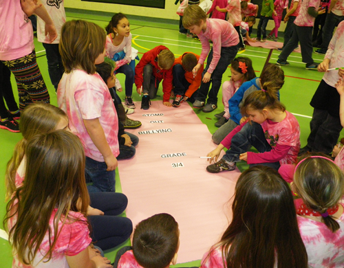 Kids literally stomped out bullying. Photo courtesy of Columbia Park Elementary School