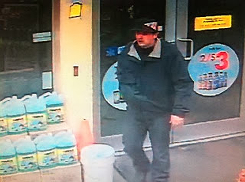 This surveillance camera photo shows a man who robbed the Alpine Shell station on December 19, 2013. RCMP have now arrested a 28-year-old man they say is responsible for the crime. Photo courtesy of Revelstoke Crime Stoppers