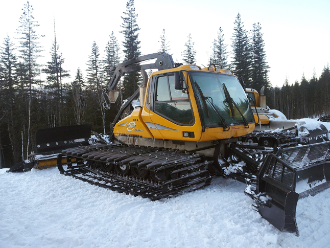 """Four machines will be on the hill tonight, says RMR General Manager Rob Elliott. """" A winch cat being repaired will be back in action by this weekend.  We are purchasing another winch machine and moving it from the US. Within the next two weeks our grooming fleet will have a strong winch component."""" Winch machines like the one in this photo, are used on the steep run.  """"Our steep ski runs will get their needed attention,"""" Elliott said. Photo courtesy of Rob Elliott/Revelstoke Mountain Resort."""