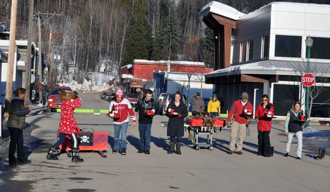 Saturday, February 1, was Day Three of the 2014 Spirit Fest and it saw staff from Glacier Resort and the Last Dro0 compete in a Waters' Race. David F. Rooney photo