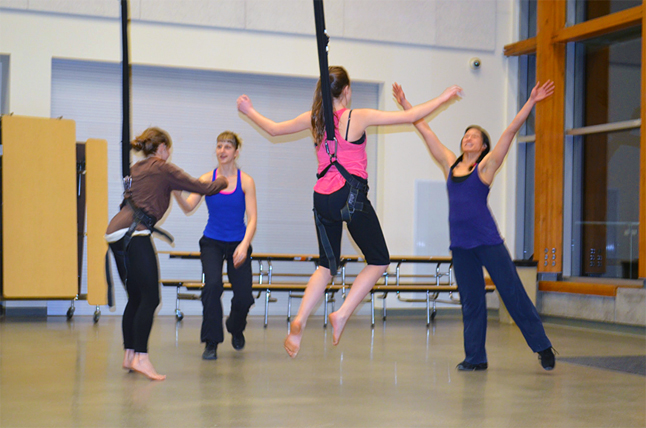Spirit Fest's second week opened with Aeriosa Dance Company offering local youths a taste of what it's like to dance in mid-air during a workshop held at RSS and the Performing Arts Centre. Miriam Manley photo