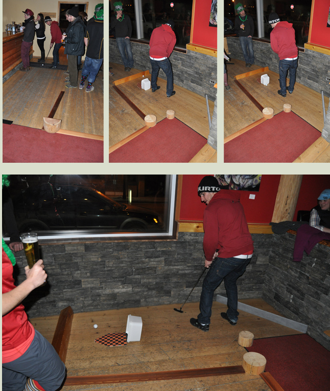 The Stoke FM Pub Golf Tournament was held on Tuesday, February 4.  Jesse was the first golfer to attempt the course at The Cabin. Tournament participants played courses at pubs all over town. David F. Rooney photo