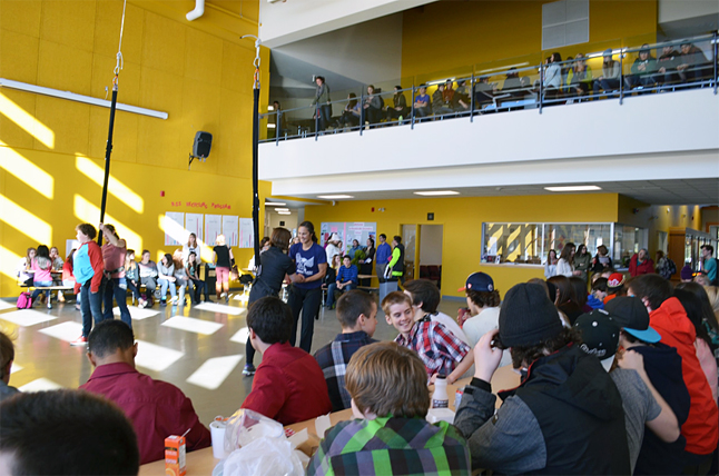 Aeriosa brought their bungees cords and harnesses to RSS on Wednesday, February 5, where they introduced local students to bungee cords during lunch. Looks like an excellent turnout! David F. Rooney photo