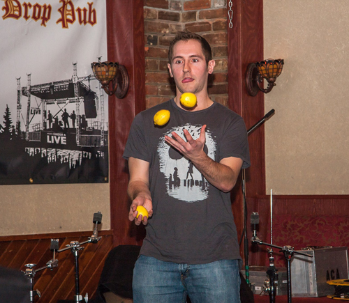 Chris Robakq juggled his lemons, and threatened to do so while taking a shot, but that never panned out.  Jason Portras photo