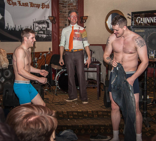 Darin Loseth & Terrance Storaschuk became strippers for the night, to the delight of the crowd.  Jason Portras photo