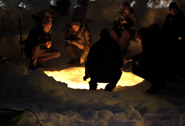 Besides snowshoeing during the even ing people enjoyed roasting marshmallows. Rob Buchanan photo courtesy of Parks Canada
