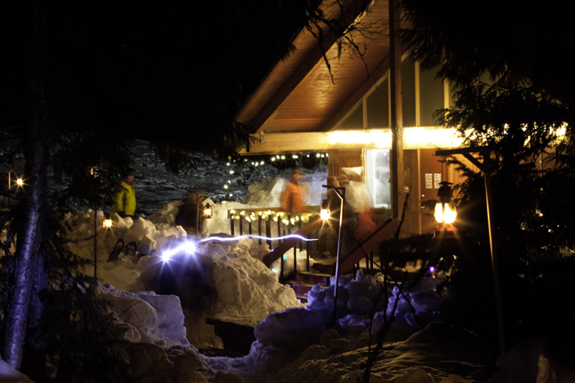 About 90 people went snowshoeing on the slopes of Mount Revelstoke during the Starlight Snowshoeing event sponsored by Parks Canada on Sunday, February 9. Here's a magical shot of the chalet. Rob Buchanan photo courtesy of Parks Canada