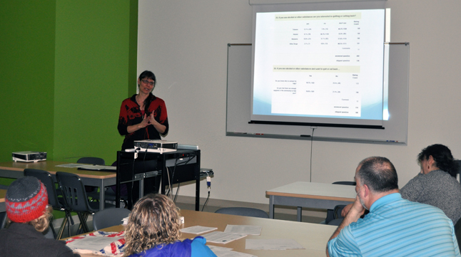 Social Development Coordinator Jill Zacharias speaks to members of the Revelstoke Secondary School's Parent's Advisory Committee on Tuesday, February 25, about the most recent survey of alcohol and drug use among Revelstoke's youth population.. She said the survey's results will be released next. week. David F. Rooney photo