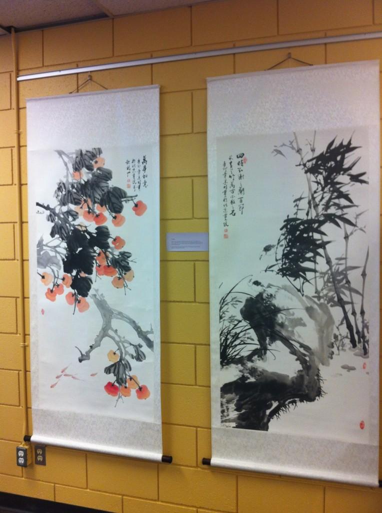 Chinese watercolor paintings donated by Leslie and David Savage. Kendra Runnalls photo.