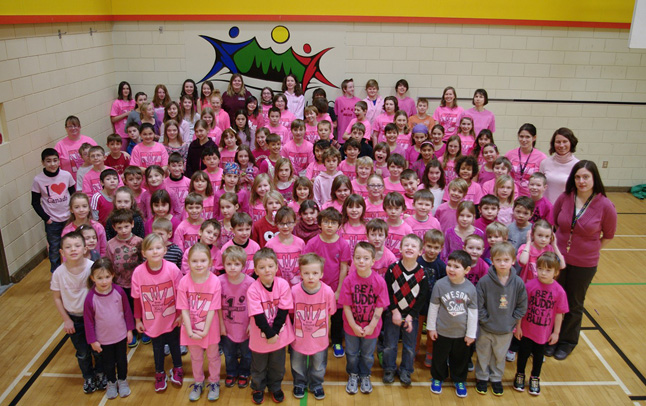 Arrow Heights Elementary School wears a sea of pink in the AHE gym on their Pink Shirt Anti-Bullying Day on February 26. Photo by AHE Principal Todd Hicks