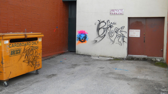 Sometime during the later part of the evening on Friday, March 21, and the early morning hours on Saturday, March 22, someone spray painted a number of images, including an image that resembled, 'Marilyn Monroe,' on  the back of the Masonic Lodge Building located at 209 MacKenzie as well as on the yellow cardboard storage container.  If you have any information about this or any other criminal act, please do not hesitate to contact the Revelstoke RCMP at 250.837-5255 or Crime Stoppers at 1-800-222-8477. Photo courtesy of Revelstoke Crime Stoppers