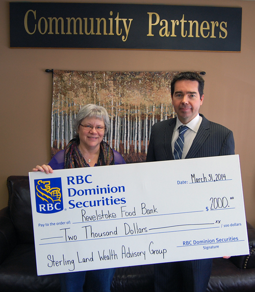 Sterling Land of Sterling Land Wealth Advisory Group in Salmon Arm (right) made Patti Larson's day when he dropped by Community Connections on Monday, March 31, to present the Food Bank coordinator with $2,000 from his firm and RBC Dominion Securities. The money will go a long way towards helping the agency assist needy families this spring. David F. Rooney photo