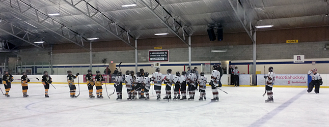 VICTORIA — The Revelstoke  Pee Wee team placed third at the Provincial Championships this week.  They gave it a terrific effort and emerged with a record of 3 wins, 2 ties and 1 loss by only 1 goal. Here's the team (right) shaking hands with their bronze-medal game opponents from Burns Lake. Photo courtesy of Alexandra Farrugia