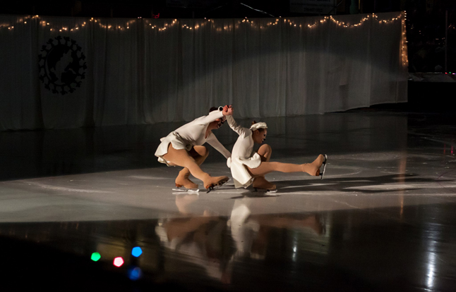 Scene I: Arctic Megan Cottingham & Makenna Howe were the first out on the ice, playing a pair of polar bears. Here they perform a manoeuvre called a backwards shoot-the-duck. Jason Portras photo