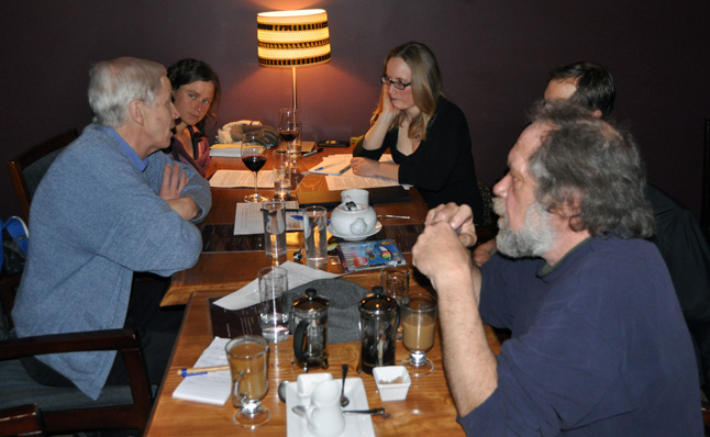 Robin Brooks Hill (left) talks with Jennifer Greenwood, Meghan Anderson, Chris Selvig and Bob Gardali (right) at Benoit's Wine Bar on Thursday, March 6. They had been meeting to discuss the prospects of organizing a team of activists under the aegis of an organization called Leadnow. Leadnow is working in ridings across the country to build a network of small teams in communities around the country who will make a difference in 2015 and lay a strong foundation to push for real changes after the election. If you are interested in learning more send an e-mail to Meghan at meghana09@hotmail.com. David F. Rooney photo